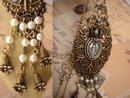 Gothic VIntage Miraculous MEdal Pearl pendant Assemblage necklace