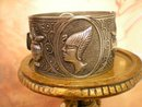 Vintage Cleopatra bracelet Bangle Urn Hinged raised relief
