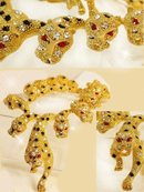 Dazzling 565 Rhinestones Figural Lion Jewel necklace and Earrings