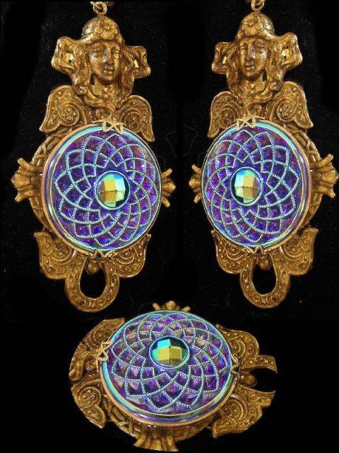 Exotic Figurehead Czech Glass Mucha LONG Nouveau style earrings