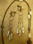 ANtique French Edwardian genuine pearl earrings and necklace