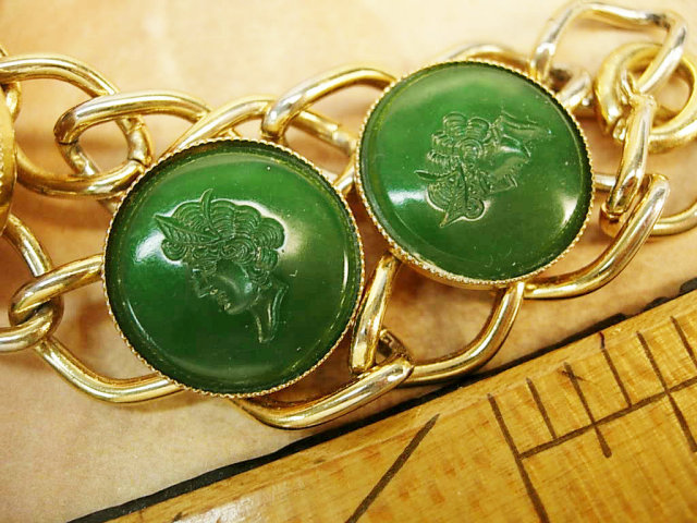Vintage Intaglio cameo bracelet wide chains and 5 heads