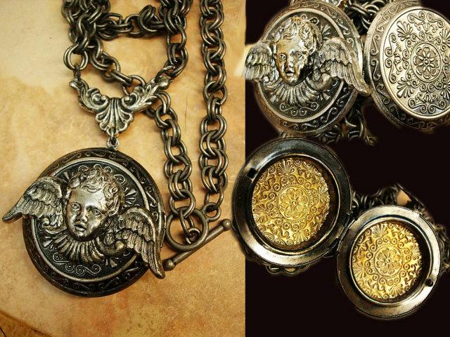 Gothic Winged Cherub locket necklace dripping in gunmetal chain