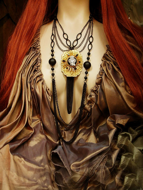Gothic Masquerade necklace dripping in black chains and mask