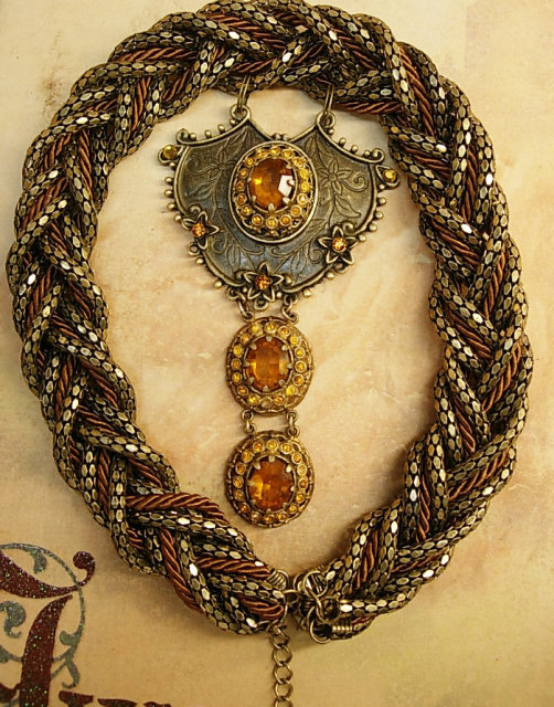 Dramatic Medieval NEcklace old Czech stone wide collar of metal braid