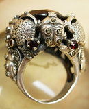 Bizarre Scarab beetle Gothic ring HUGE Blood red 14ct Garnet marcasites and sterling setting amulet