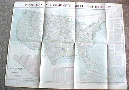 Antique Map US Postal Rates 1912 Large Foldout