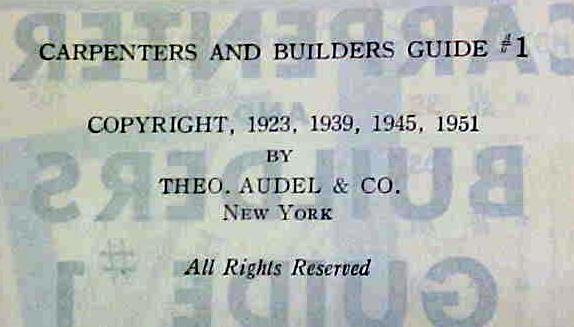 Audels Carpenters and Builders Guide 4 Vol 1951