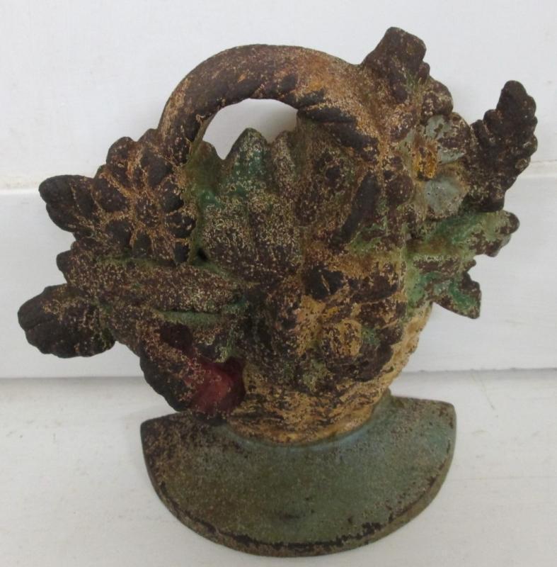 Door Stop Flower Basket Cast Iron
