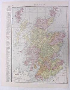 Antique Map Scotland 1916 Nice Details & Colors
