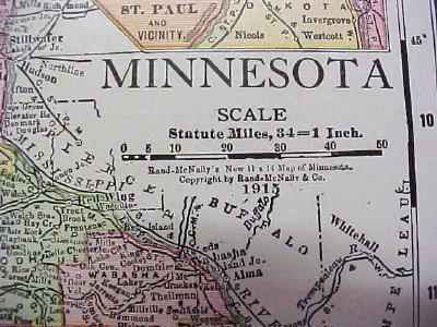Antique Map Minnesota 1916 Nice Details & Colors