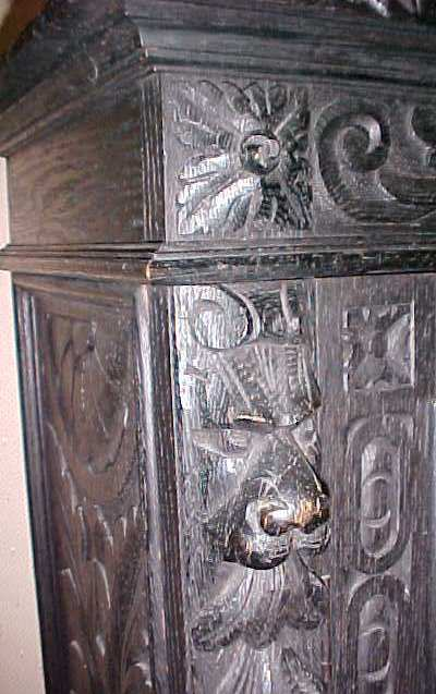 Bookcase Ornate Carving 19th Cent Lions
