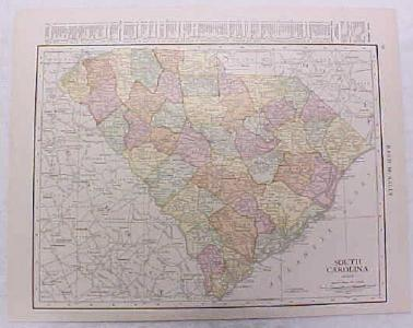 Antique Map South Carolina 1916 Nice Details & Colors