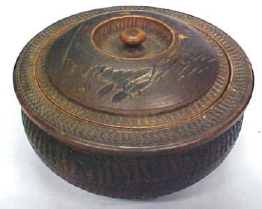 Miniature Carved Box  Round  Ornate Old