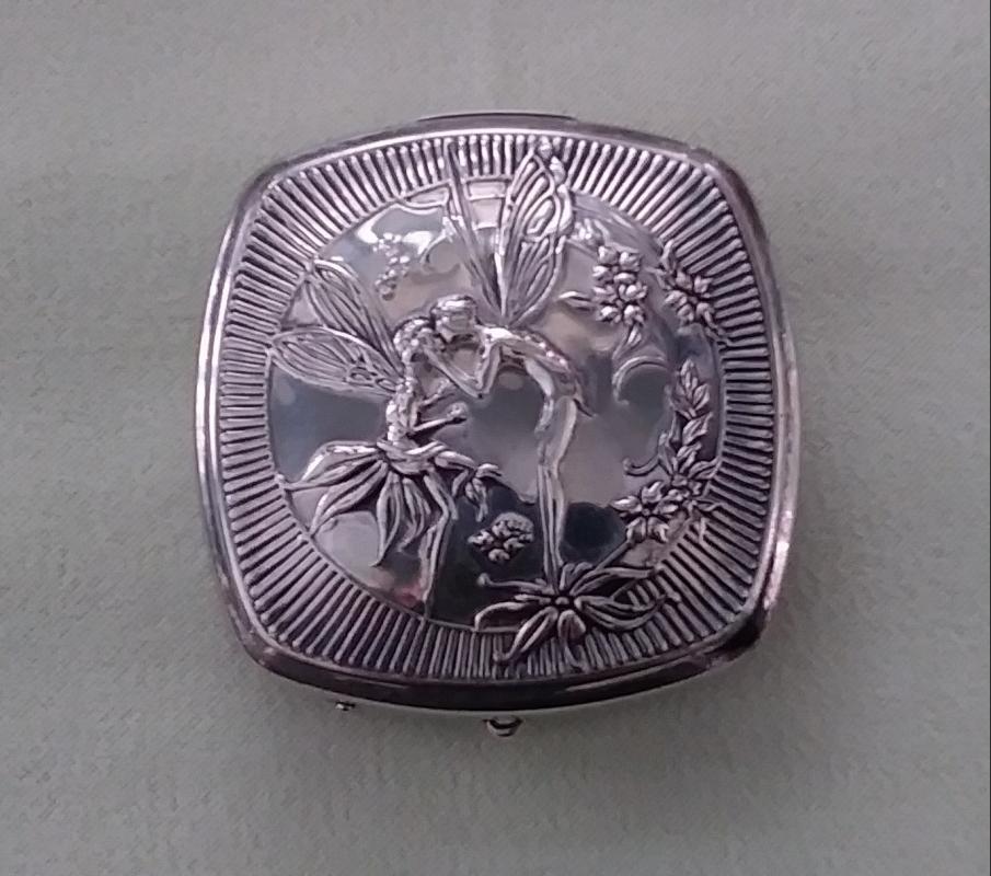 Silver Plated Ladies Compact Fairies  Art Nouveau