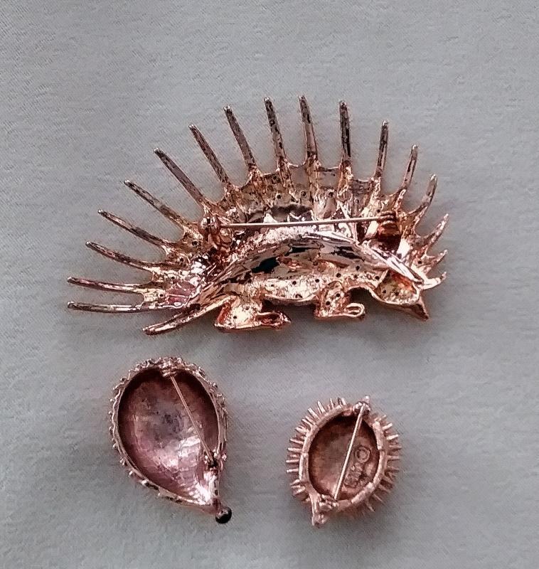 Hedgehog Porcupine Brooches 3 pc