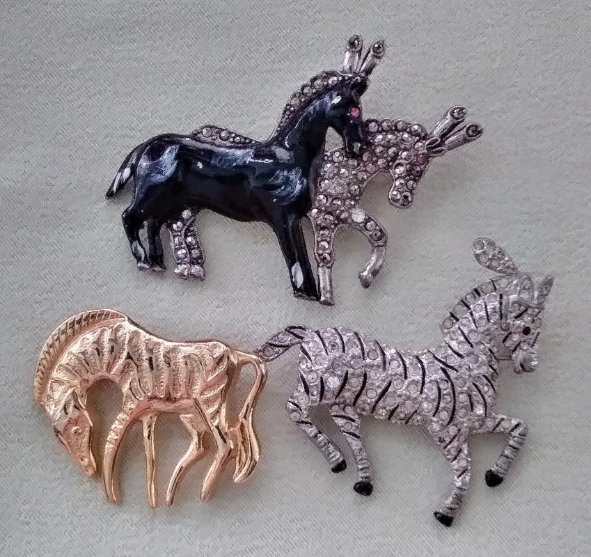 Vintage Horses & Zebra Brooches 3 pc Rhinestones