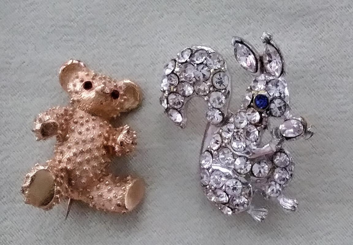 Vintage Brooches Squirrels, Teddy, Otter