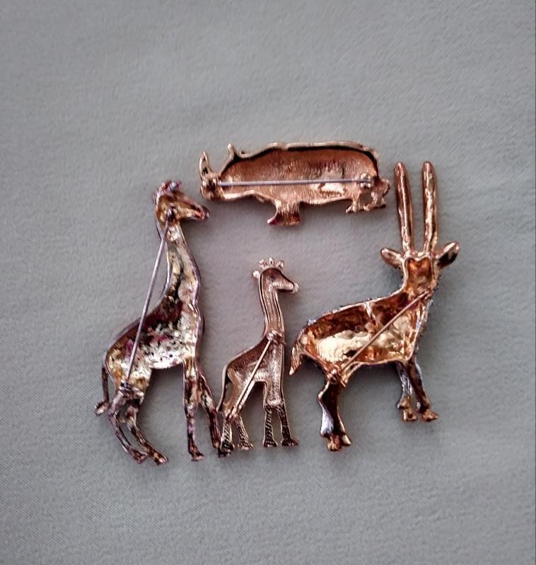 Vintage Brooches Giraffe Gazelle Rhinoceros 4 pc