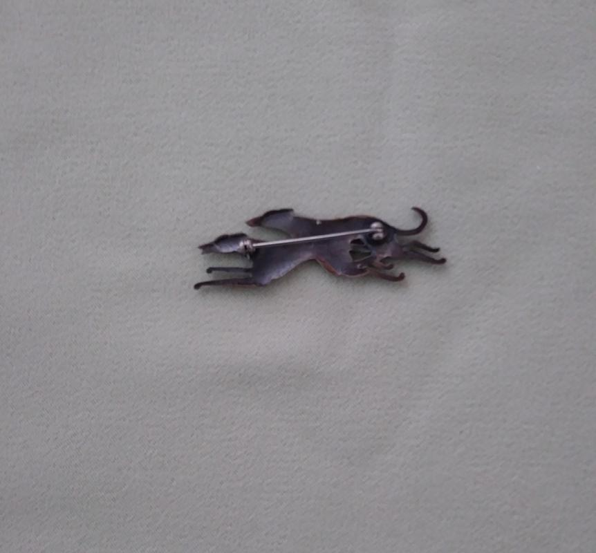 Sterling Silver Racing Greyhounds Brooch Pin
