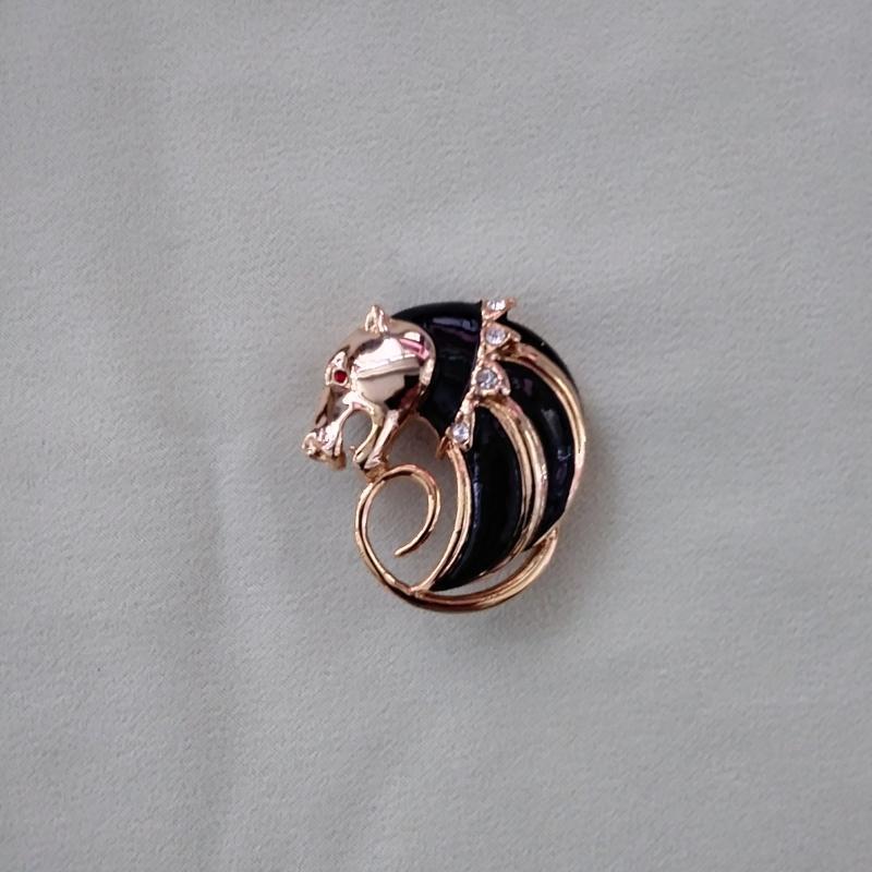 Panther Brooch Pin 2 Pc Rhinestones