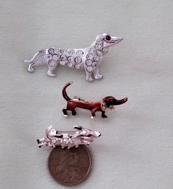 Vintage Dachshund Brooch Pins 3 Pc Weiner Dogs