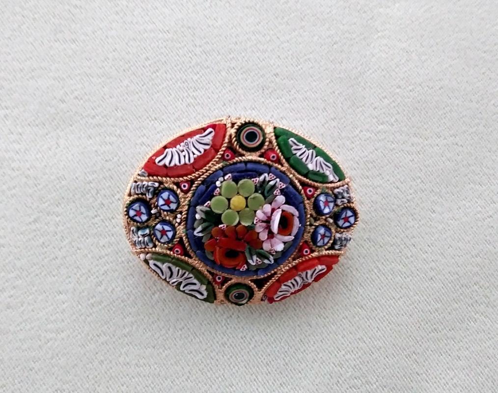 Mosaic Brooch Italy Stunning Colors!
