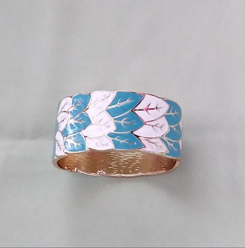 White and Aqua Enamel Cuff Bracelet Gorgeous!