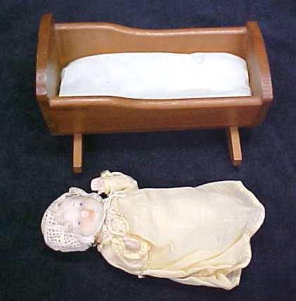 Miniature Bisque Baby Doll + Cradle