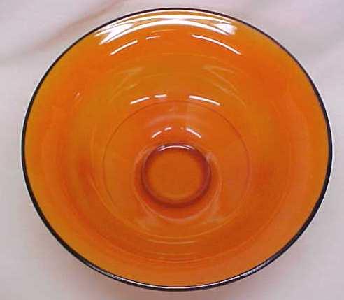 Lancaster Glass Pedastal Bowl Orange 1920's