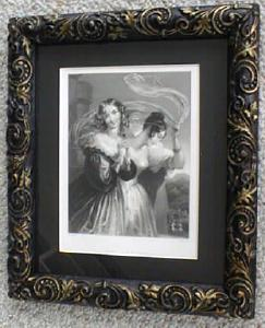 Engraving Lady with Veil Ornate Frame 1890's