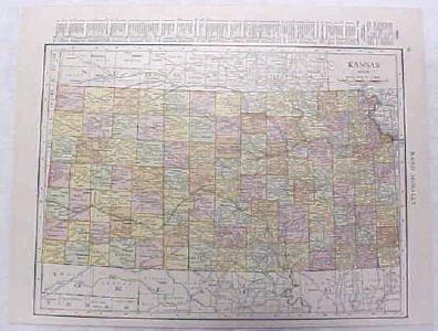 Antique Map Kansas 1916 Nice Details & Colors