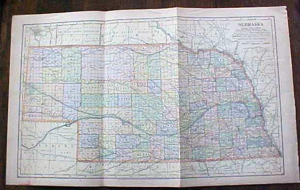 Antique Map Nebraska 1901 Large Foldout