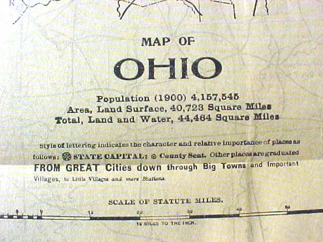 Antique Map Ohio 1906 Large Fold Out