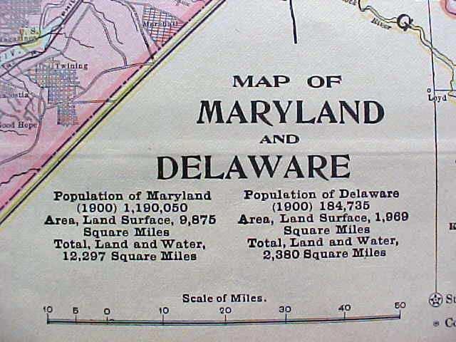 Antique Map Maryland Delaware Virginia West Virginia