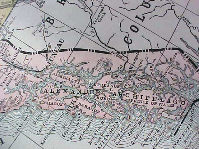 Antique Map Alaska 1906 Large Fold Out