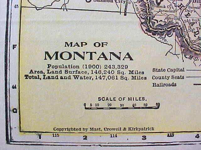 Antique Map Utah Montana 1906 Nice Colors