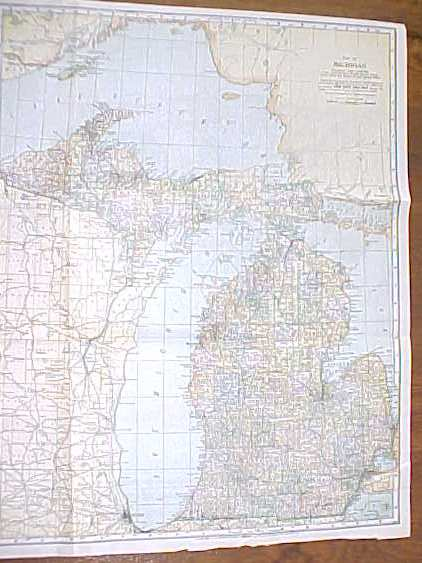 Antique Map Michigan 1906 Large Fold Out