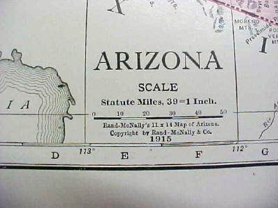 Antique Map Arizona 1916 Nice Details & Colors