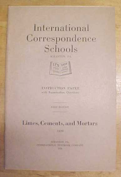 Cements and Mortars Booklet ICS 1920