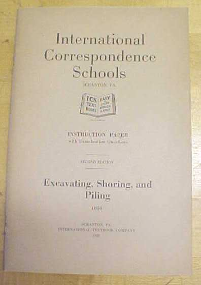 Excavating, Shoring Booklet ICS 1920 Textbook