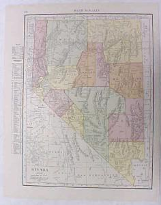 Antique Map Nevada 1916 Nice Details & Colors