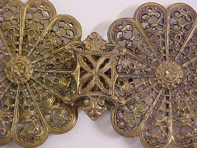 Cloak Clasp Ornate Brass Czechoslovavkia RARE
