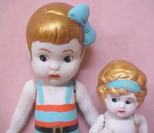 Bisque Dolls 1940's Flapper & Bathing Suit 2
