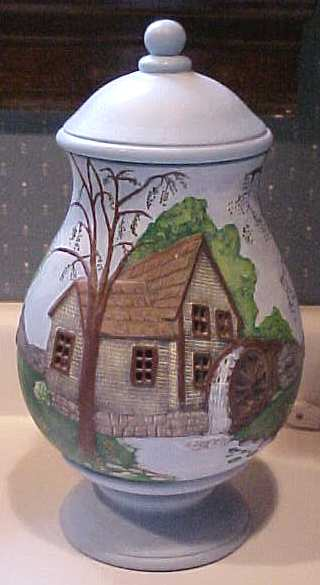 Blue Pottery Lamp Mill on River Hand Painted