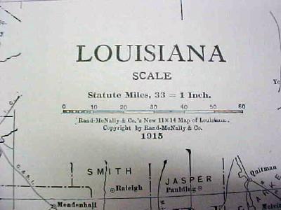 Antique Map Louisiana 1916 Nice Details & Colors