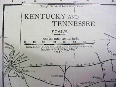 Antique Map Kentucky Tennessee 1916 Nice Details & Colors