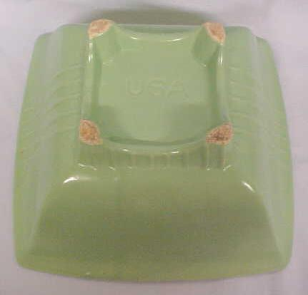 Green Pottery Bowl Sleek Deco Style USA