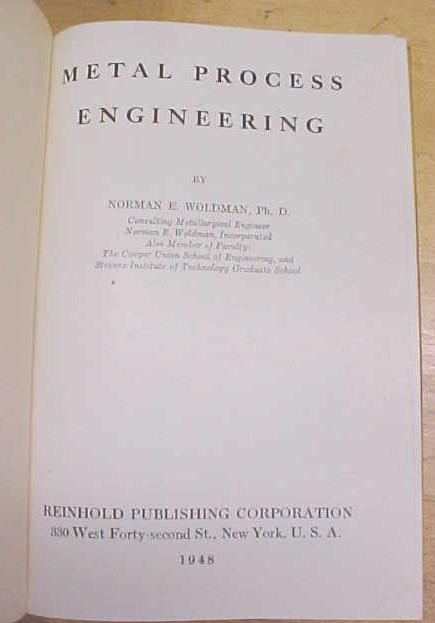 Metal Process Engineering 1948 1st Edition