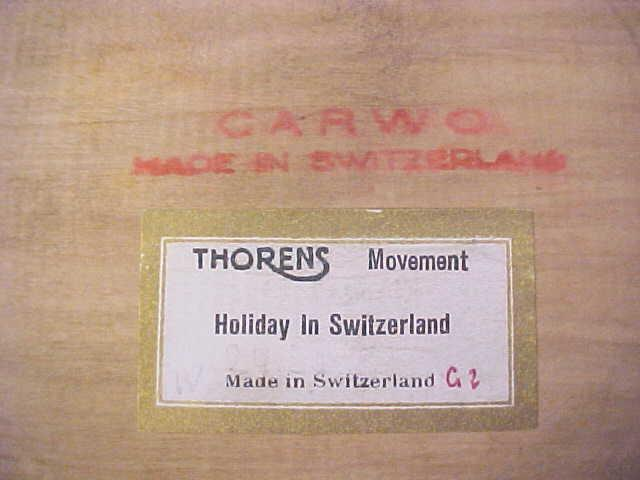 Thorens Music Box Carved Wood Dresser Tray